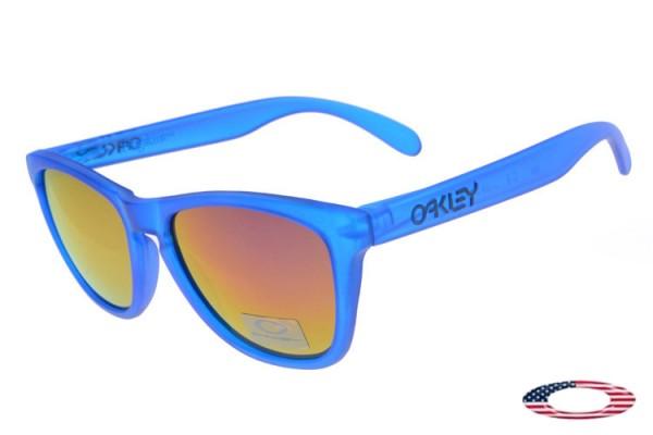 794da0d49f0 Fake Oakleys Frogskins sunglasses crystal blue   fire iridium cheap ...