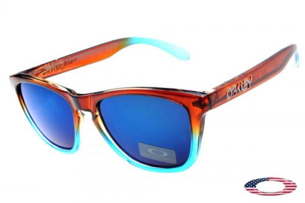 997541347e Knockoff Oakley Frogskins sunglasses crystal brown blue   ice iridium
